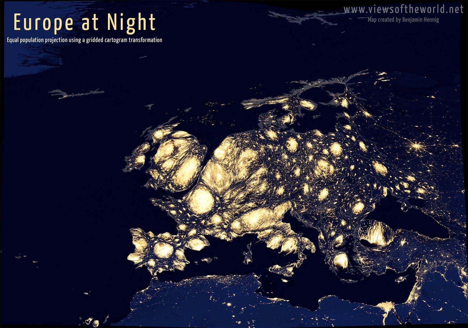 NASAs night lights imagery published in the Earth Observatory