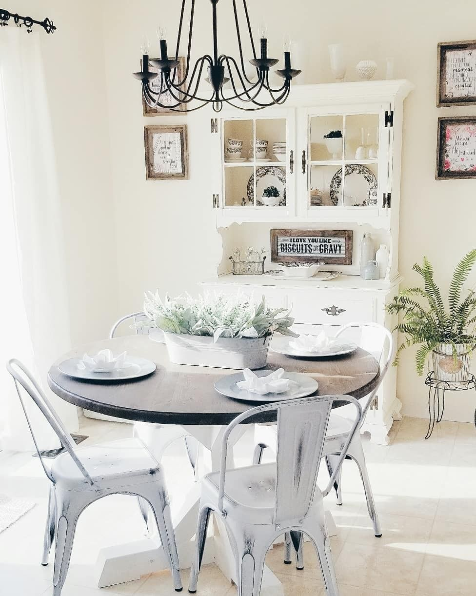 southerngirldecor on Instagram farmhouse kitchen country white kitchen decor farmhouse t… | Farmhouse dining room, Small farmhouse table, Small round kitchen table