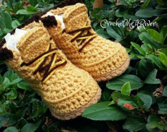 15b8bf6dca426 Crochet combat timberland military boots. Baby boy booties