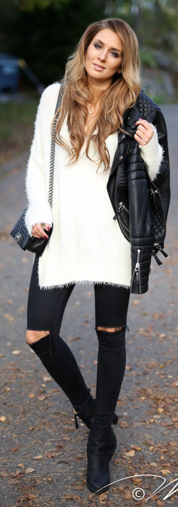 White Fuzzy Sweater fall autumn women fashion outfit clothing ...
