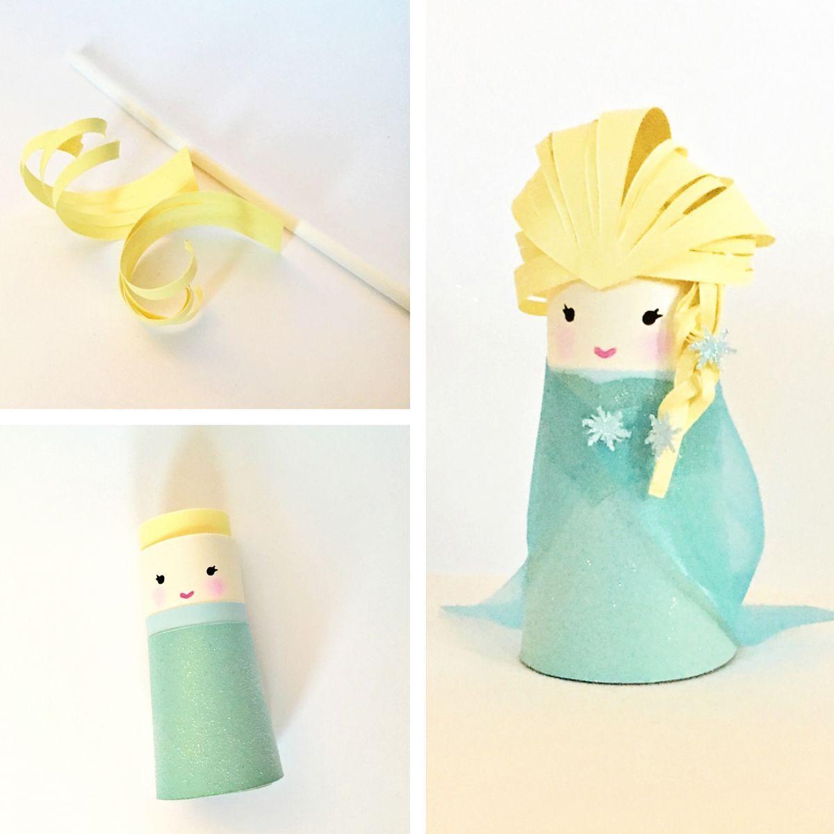 Frozen elsa paper tube craft toilet paper rolls for Toilet tissue crafts