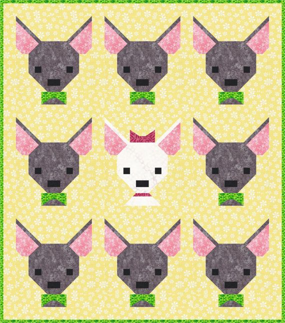 Ay Chihuahua Quilt Pattern Pdf Instant Download Mini Quilt