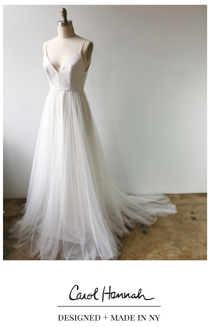 Flowy wedding dress with sleeves  Deep vneck wedding gown with pearl studded tulle Soft romantic