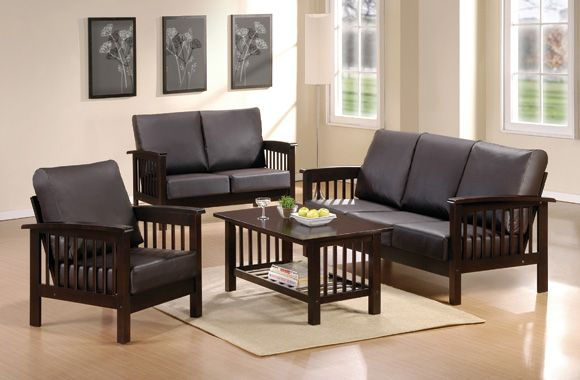 High Quality Small Living Room With Black Wooden Sofa Sets Design Modern