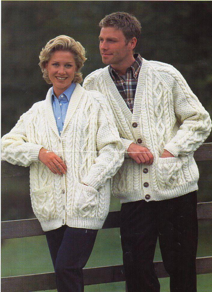 5e90e69cc womens mens aran cardigan knitting pattern pdf ladies cable jacket shawl  collar v neck 32-44