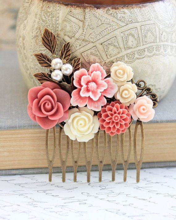 Dusty Pink Rose Hair Comb Bridal Hair Comb by apocketofposies