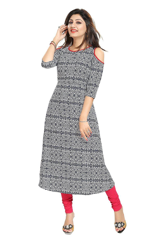 d081e8d471f35 ALC Creations Women s Faux Crepe A-Line Kurti  Amazon.in  Clothing    Accessories