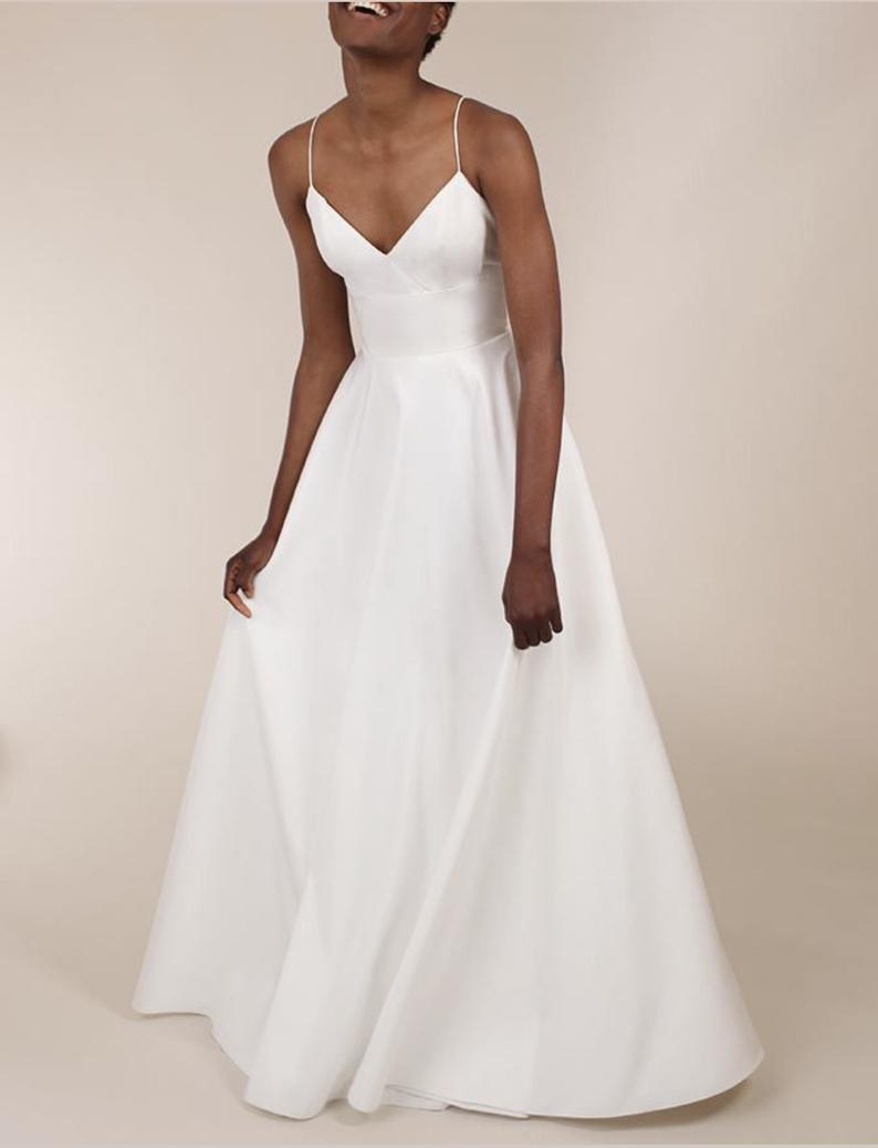 Rene Stunning Elegant Simple Dupion Silk Wedding Dress Boho Wedding Simple Elegant Silk Wedding Dress With Pockets And Train In 2021 Deb Dresses Wedding Dresses Dresses [ 1038 x 794 Pixel ]