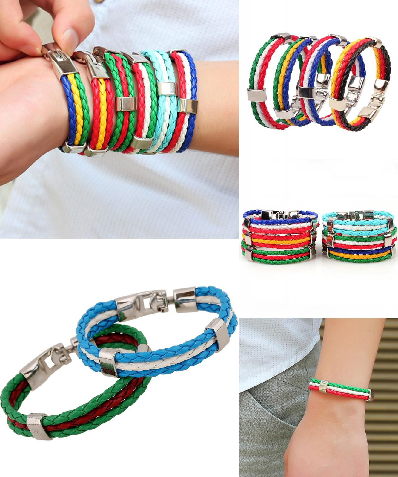 Visit to buy new women fashion country flag rope braided leather
