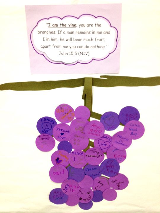 Memory verse idea once a kid says the verse their grape for Vine craft ideas