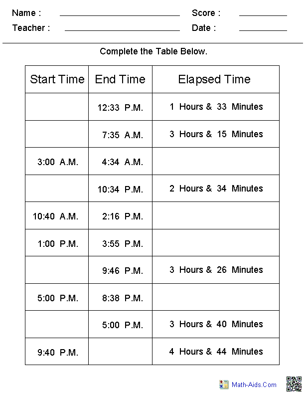 Time Worksheets – Free Elapsed Time Worksheets
