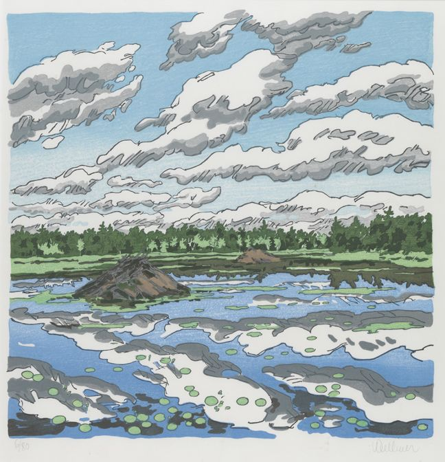 """""""Big Flowage,"""" Neil G. Welliver, 1979, color woodcut on Torinoko paper, 21 3/8 x 24 1/4"""", Pennsylvania Academy of the Fine Arts."""