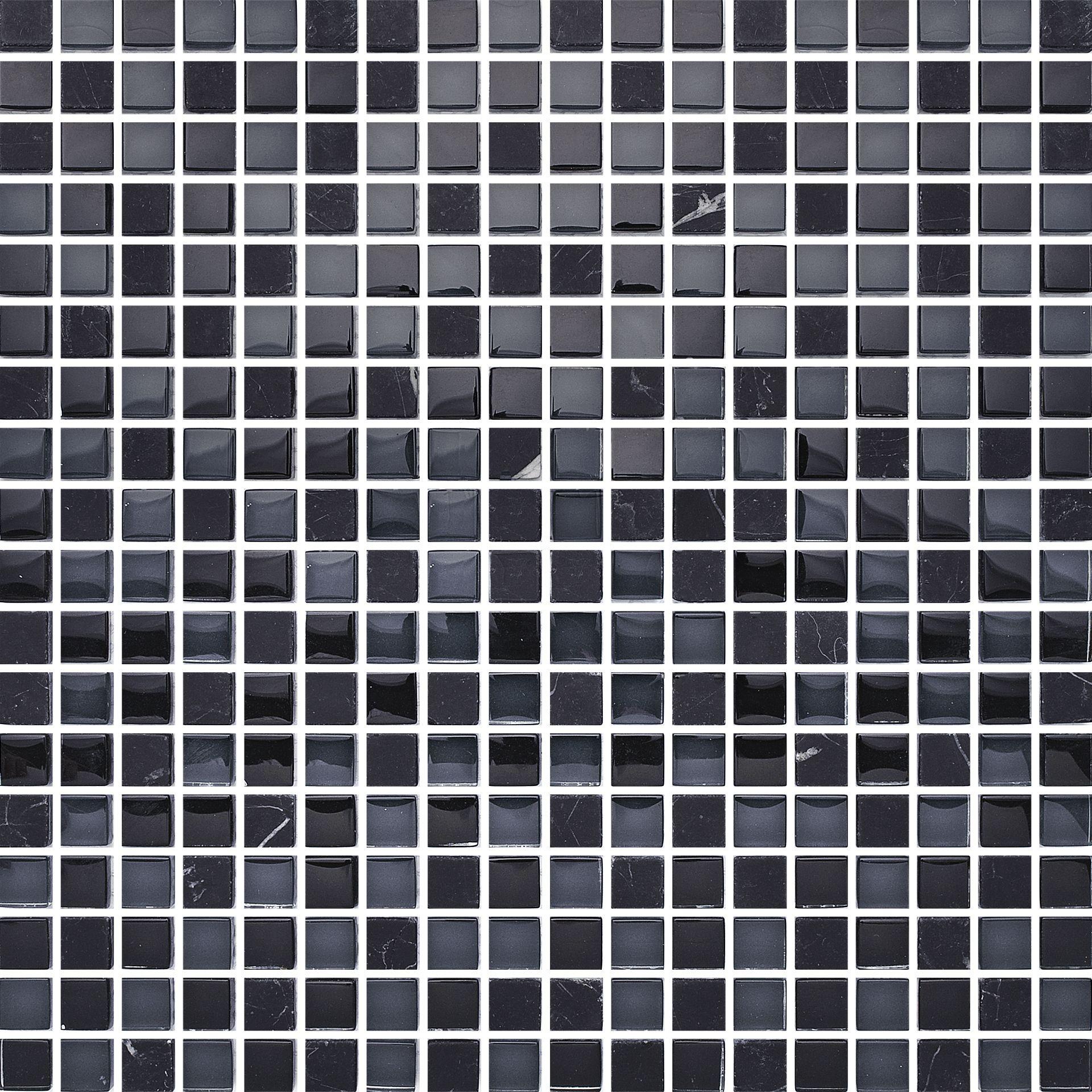 t1515 black mix stone. glasmosaik blandad med nero marquina marmor, Hause ideen