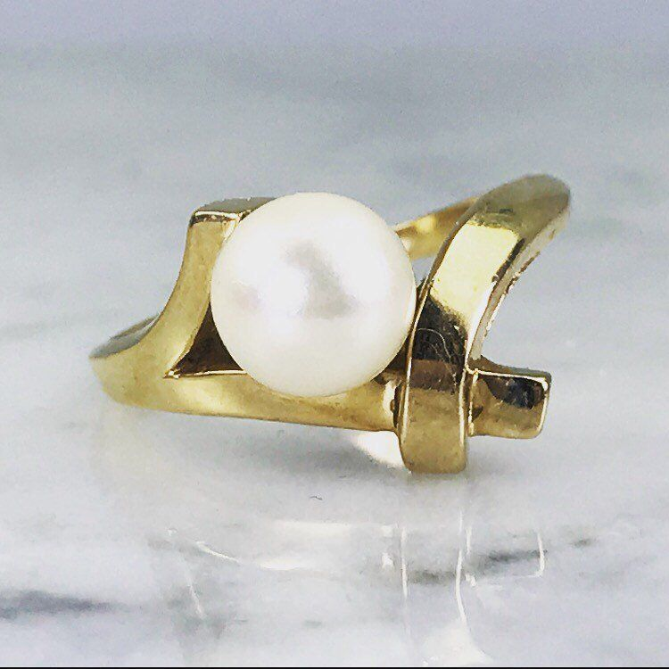 Pearl Engagement Ring 14k Yellow Gold Bamboo Style Vintage