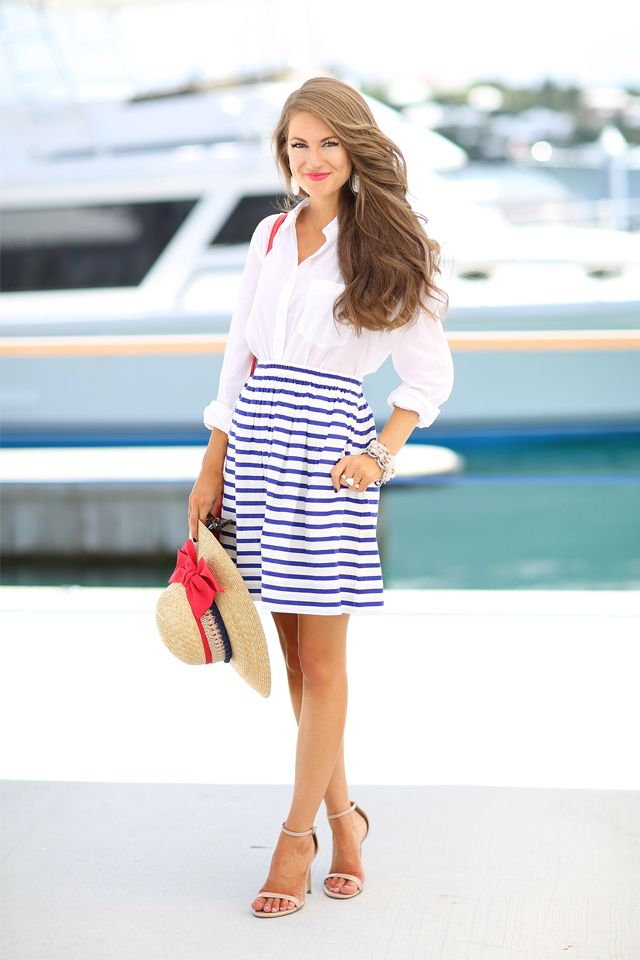 c74d07fa21d5 First outfit  nautical striped skirt (size down - I m wearing a    Dolce    Gabbana handbag similar white .
