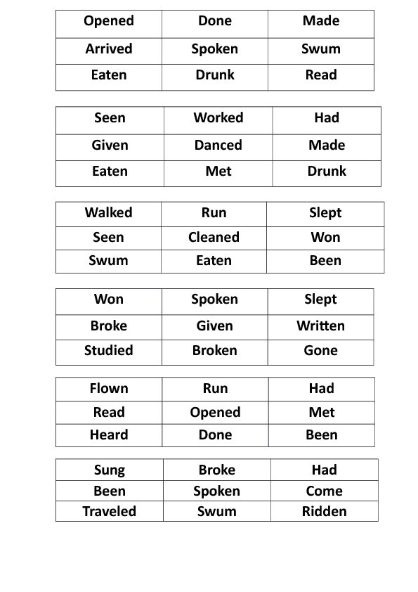 Past Participle Bingo - Elementary | English | Pinterest ...