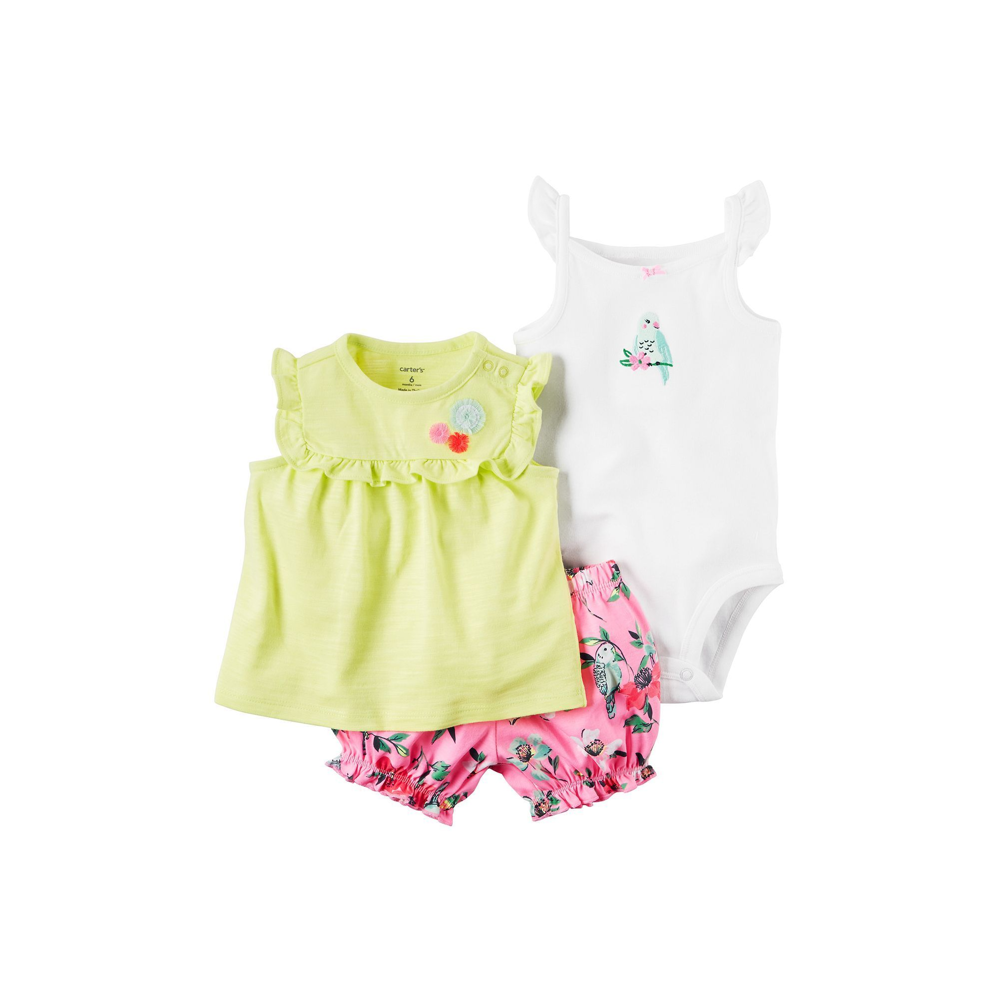 Baby Girl Carter s Embroidered Bird Bodysuit Ruffled Top & Floral
