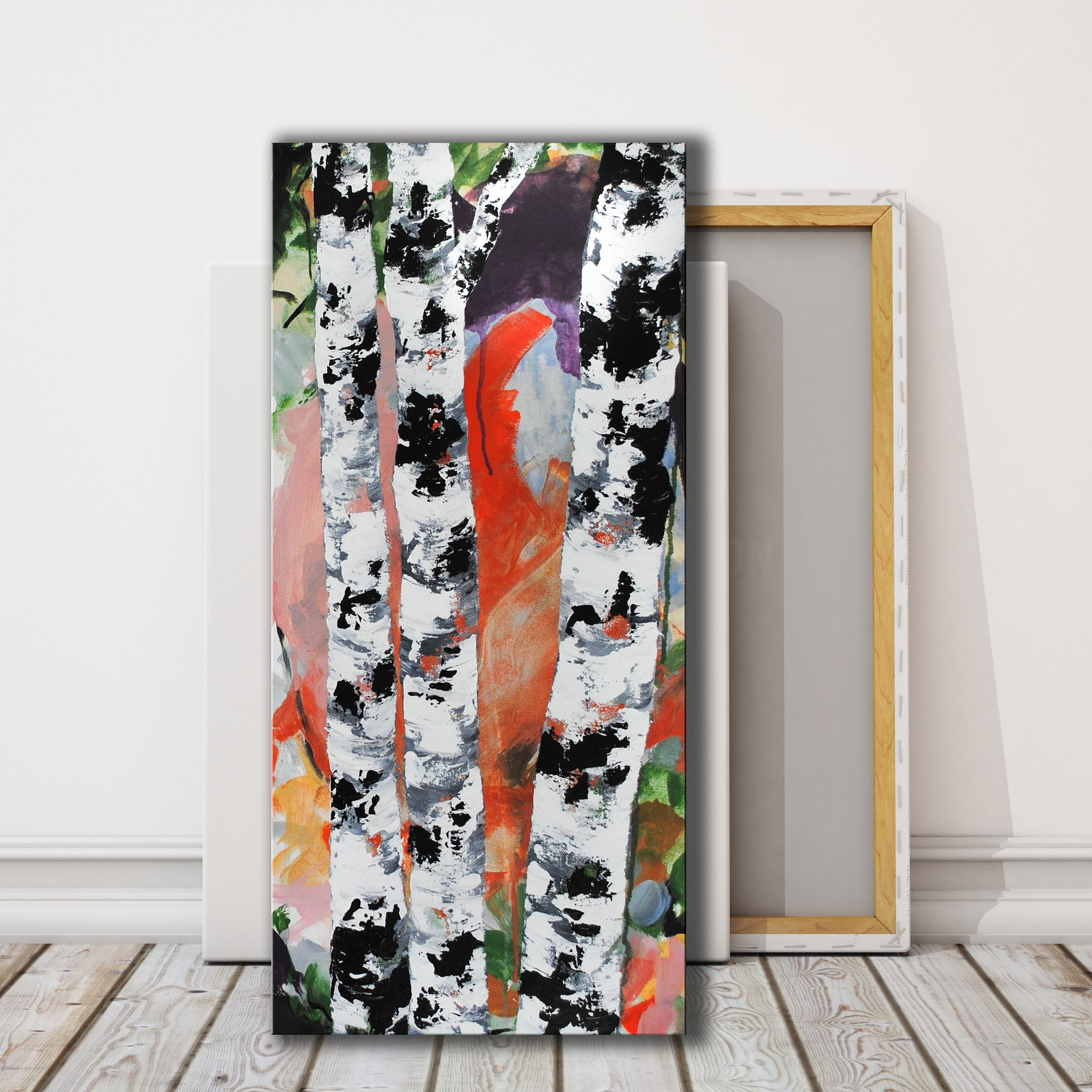 Orange Abstract Birch Tree Painting, Vertical Abstract Art  #birchtreeart #birchtreepainting #abstractbirchtrees #verticalcanvas #modernart #abstractlandscape