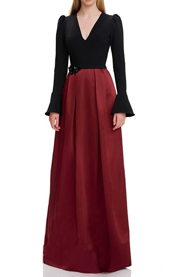Theia Black Red Long Bell Sleeve Evening Gown Poshare Black Tie