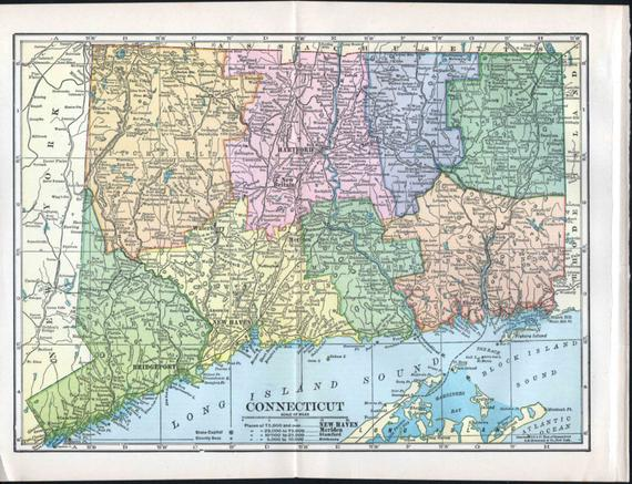 Antique Connecticut Map 1900s Color Hammond Long Island Sound - Long-island-on-us-map