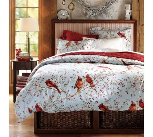 Cheerful Snow Bed Cover And Cardinal Bird Bedding Theme