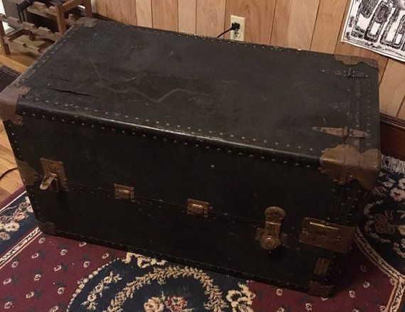 Antique Vintage Luggage Suitcase Chest Trunk // 1920s by diyanddye