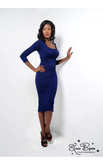Laura Byrnes Black Label Burana Dress in Navy KnitMade from the same heavy-weight knit fabric used in many high-end brands, the figure-loving Burana dress has a scoop neck, three-quarter sleeves, a sexy back slit, and a back zip. With memory stretch, it will retain its shape and not stretch out, so order a size up if you'd like a looser fit or if you've got a larger bust - See more at: http://www.pinupgirlclothing.com/black-label-burana-navy.html#sthash.ktKqecJU.dpuf