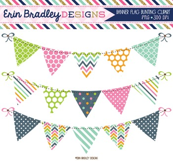 Bunting Clipart - Pink Blue Green Orange Banner Flag Clip Art Digital Graphics  Set includes: • (3) PNG clipart graphics with transparent backgrounds, saved at 300dpi  Please note this is a clipart set and it is meant to be used in graphic design projects.