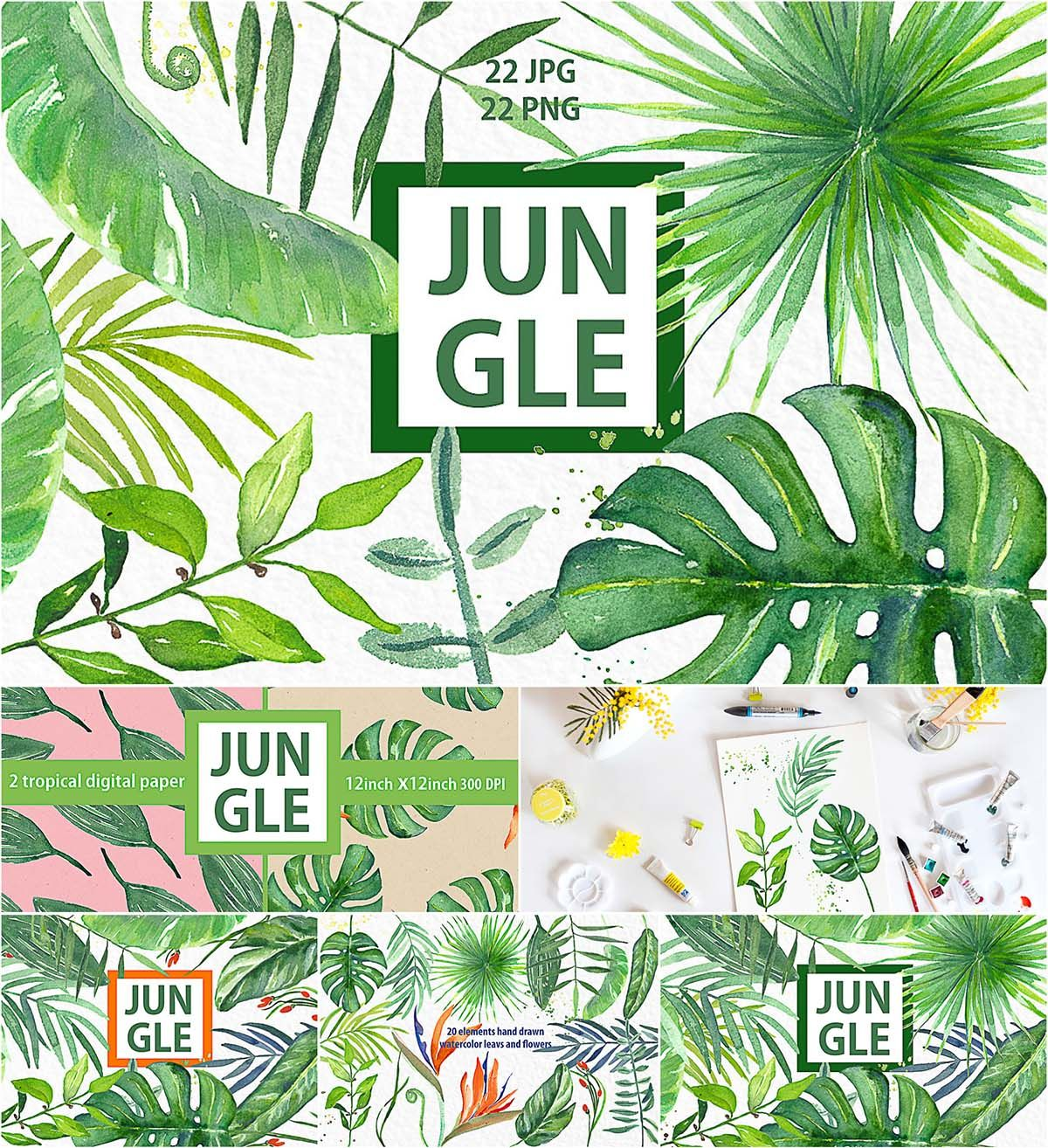 Set Of 22 Png With Tropical Jungle Hand Painted Watercolor Green Branches Leaves And Orange Flowers Perfect For Art Photography Logo Wedding