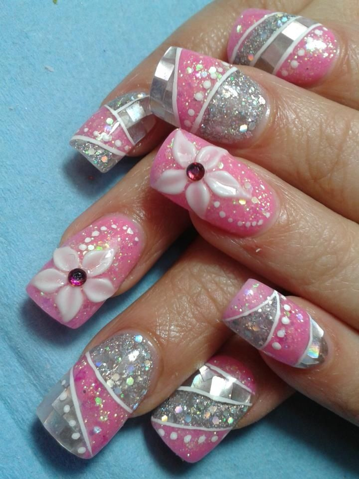 Pink Nails With Design On Pointer Finger And Diamond Accents Www