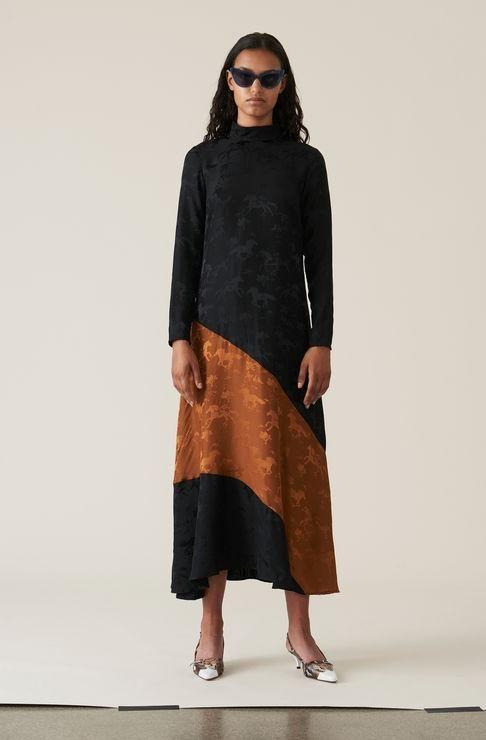 d85b20e3db12 GANNI Ackerly Silk Jacquard Maxi Dress