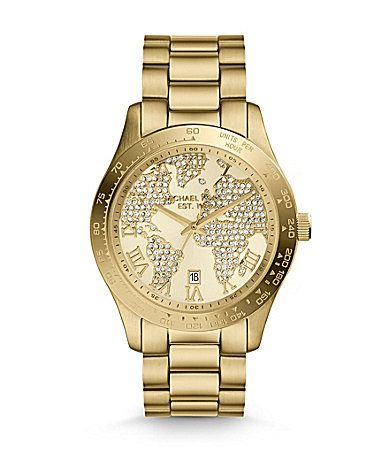 Michael kors layton goldtone pave world map dial watch dillards michael kors layton goldtone pave world map dial watch dillards sciox Choice Image
