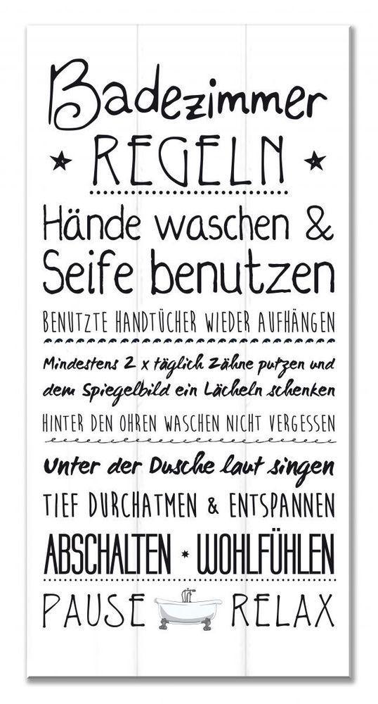 Wandschild Deko Schild Familienregeln Bad Shabby Sign Spruche