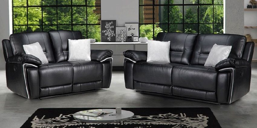 4 Seater Black Leather Recliner Sofa Set
