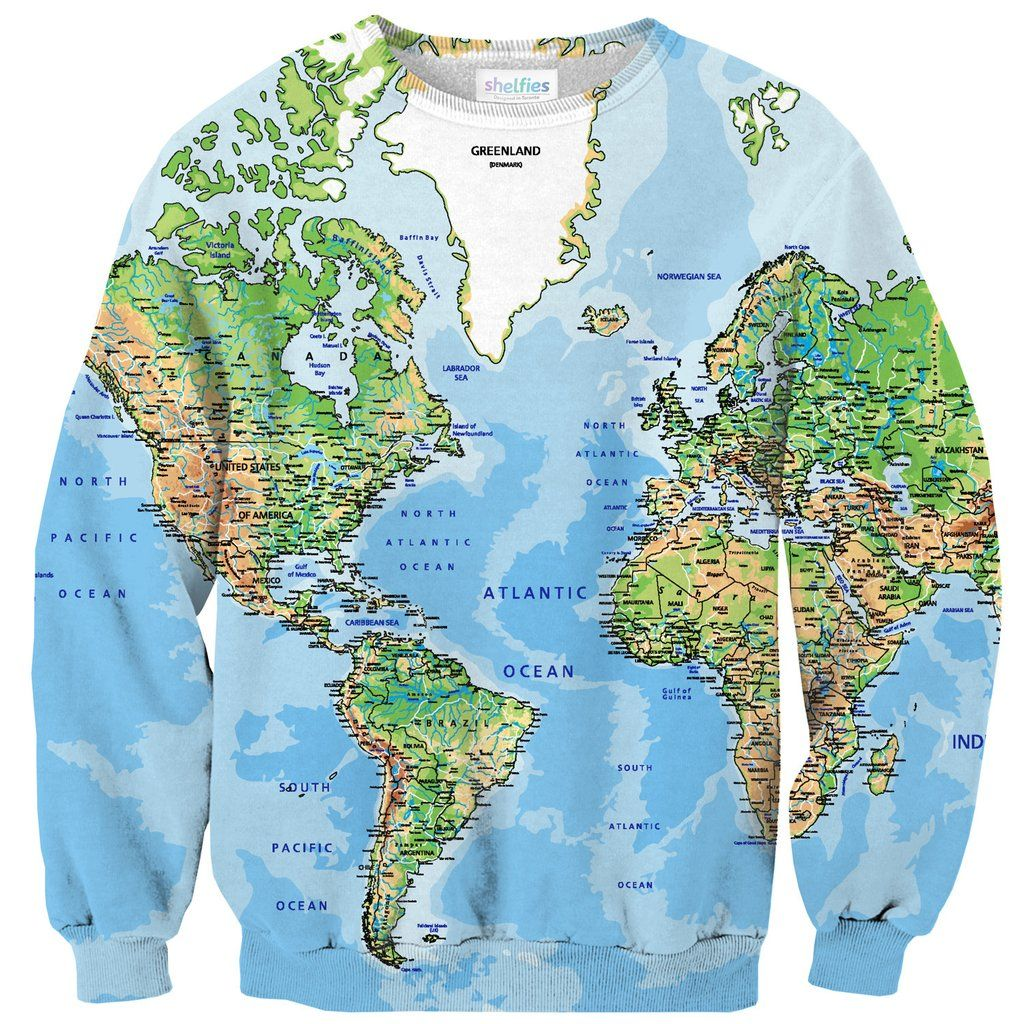 World map sweater pinterest sweatshirt clothes and clothing sweatshirts world map sweater gumiabroncs Image collections