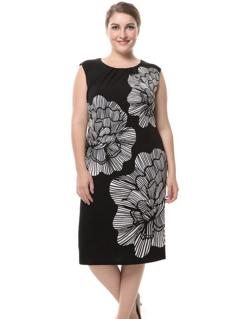 b0251eb3ee Chicwe Women s Lined Plus Size Floral Printed Dress Sleeveless US16 ...