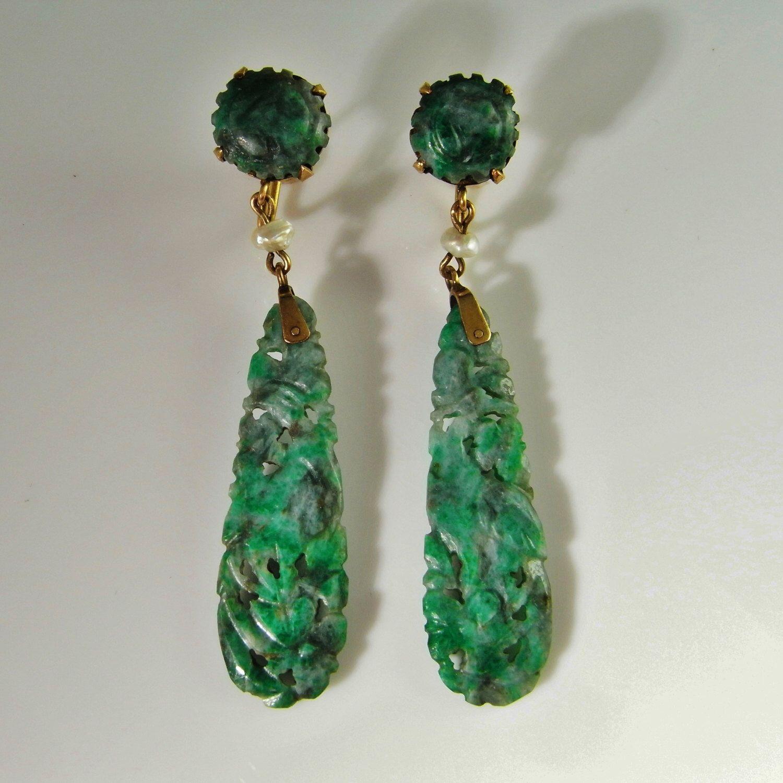Antique Edwardian 14k Yellow Gold Hand Made Green Jade Jadeite Drop Earrings  By Highendsilverjewelry On Etsy