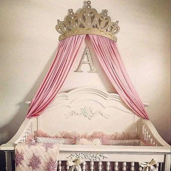 Crib canopy, Baby crib bed crown, wall art, wakeup sweet ...
