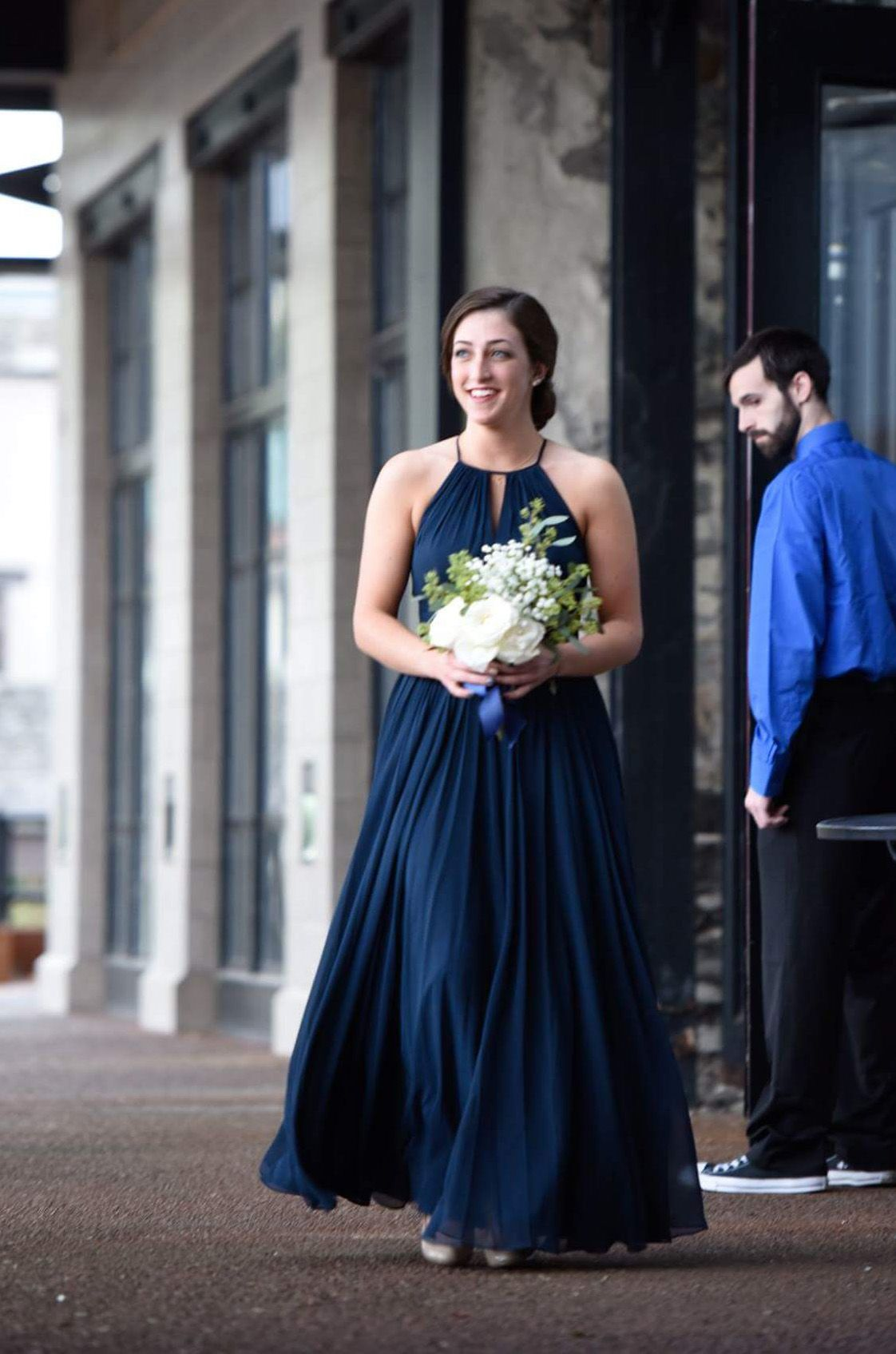 Aline halter floorlength keyhole purple chiffon bridesmaid dress