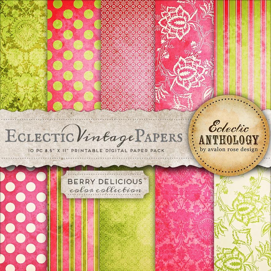 Berry Delicious Printable Scrapbook Papers