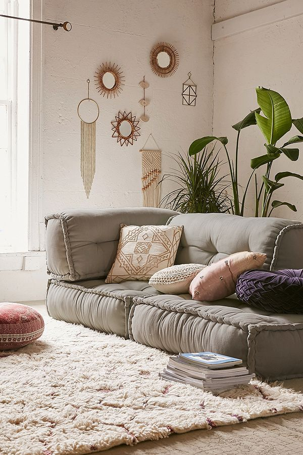 Reema Grey Floor Cushion Boho Living Room Boho Style Room