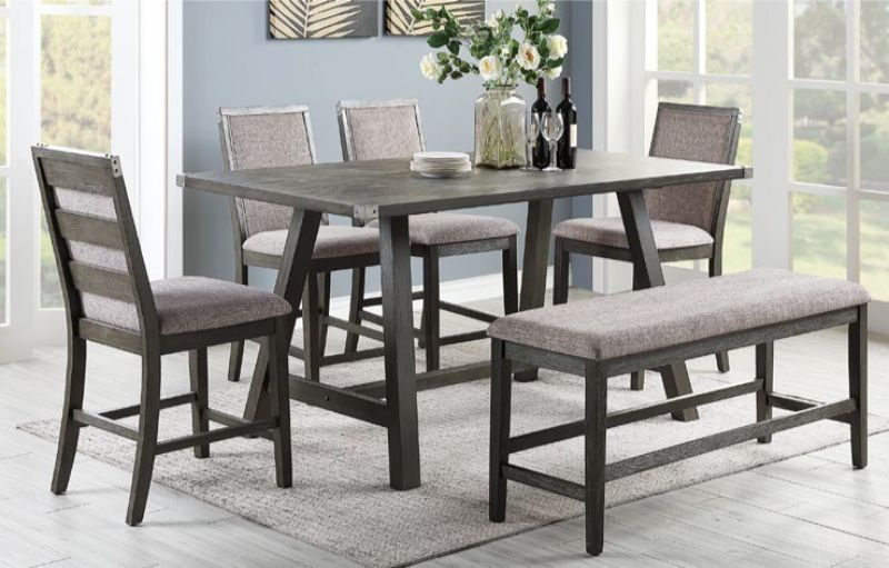 F2495 1803 04 6 Pc Clive Studios Distressed Gray Wood Finish Counter Height Dining Table Set With Bench Dining Table Dining Table Setting Counter Height Dining Table Set