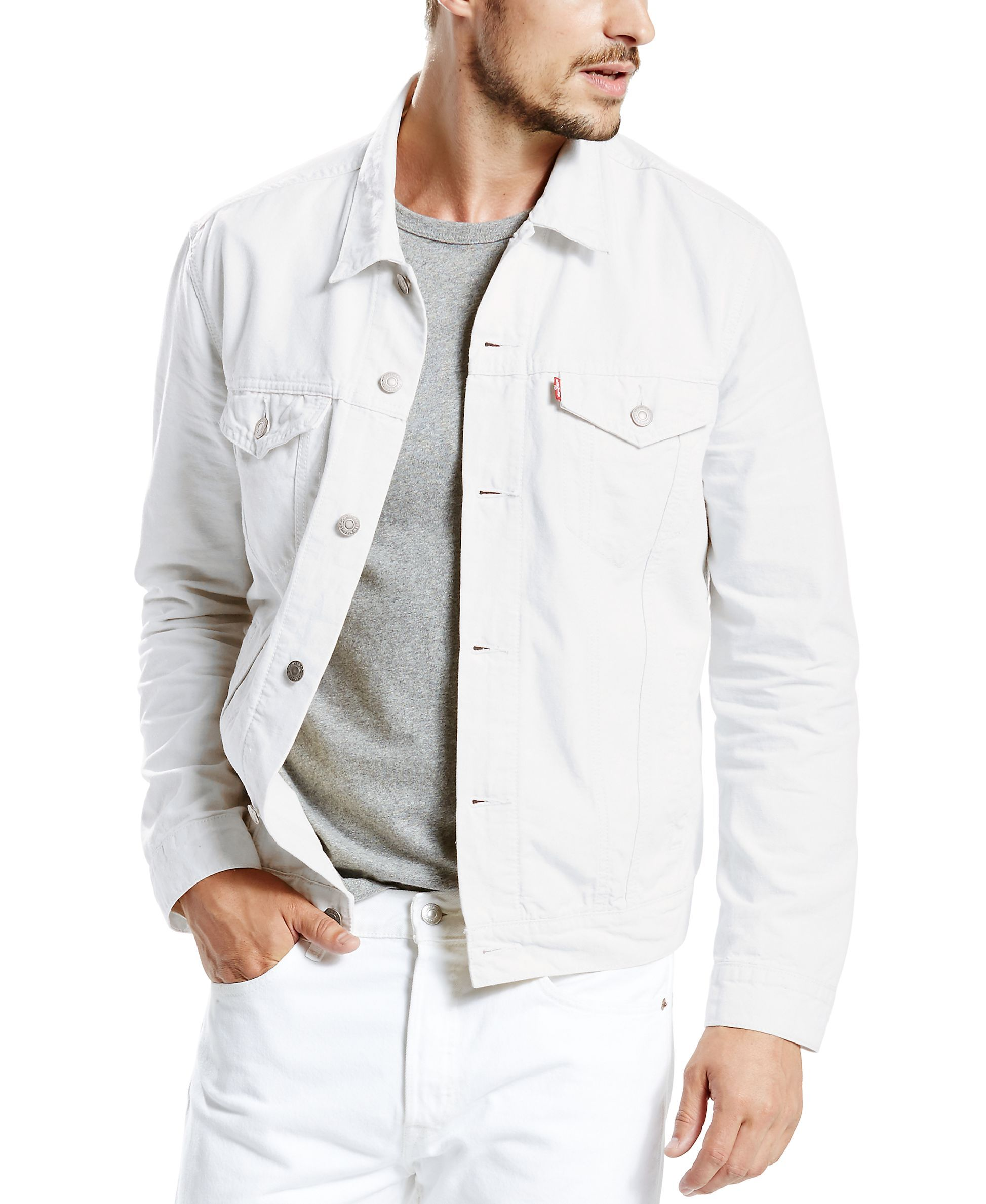 Levi S Men S White Denim Trucker Jacket D I Y Jackets Denim