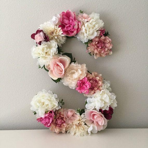 vente lettre floral cr che lettre lettre de fleur art. Black Bedroom Furniture Sets. Home Design Ideas