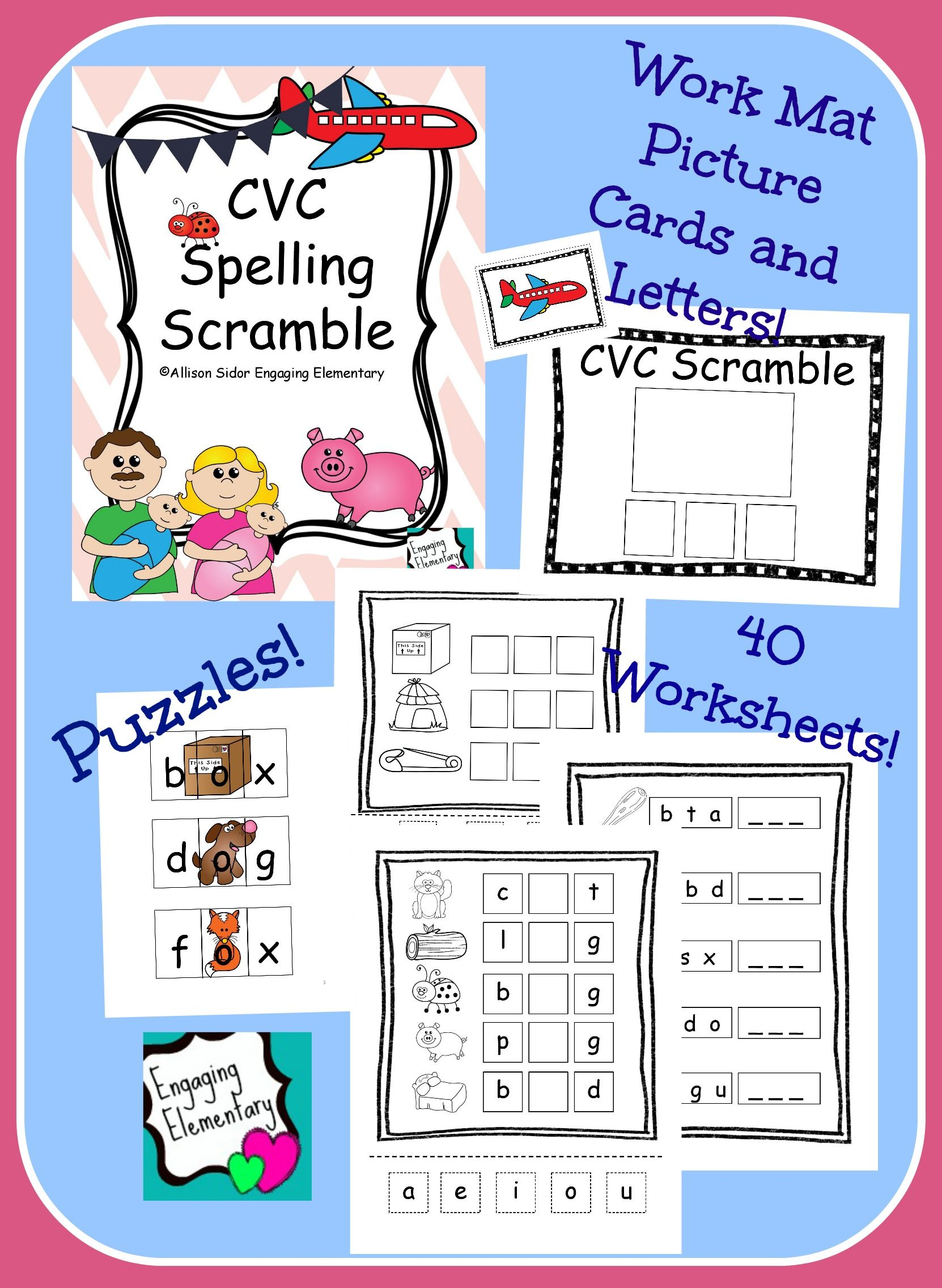 - CVC Spelling Scramble Math For Kids, Kindergarten Reading, Spelling