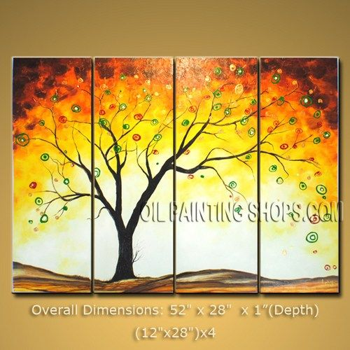 Stunning Large Multiple Panels Wall Art On Canvas Contemporary Tree ...