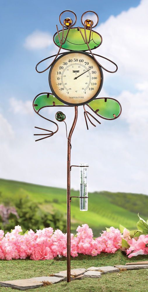 Rain Gauge and Thermometer Frog Garden Stake Yard Outdoor Home ...