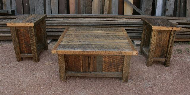 Reclaimed Barnwood Rustic Coffee End Table Set 90000 via