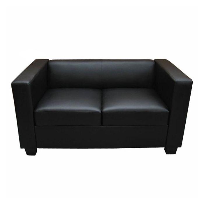 2er Sofa Couch Loungesofa Lille Kunstleder Schwarz 2er Sofa Sofa Sofa Couch