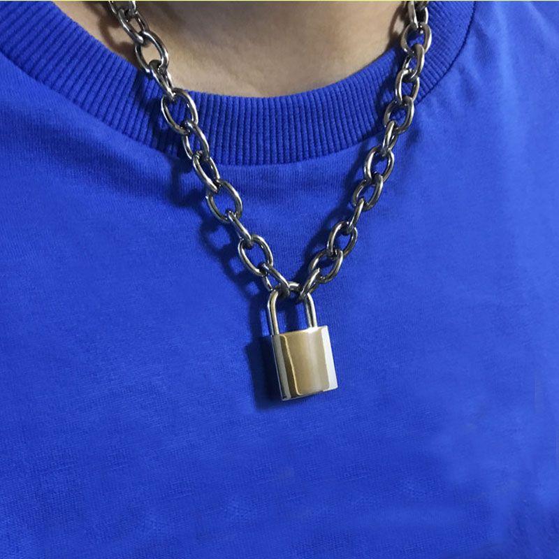 Heavy Duty Square Lock Padlock Choker Metal Collar Chain Necklace
